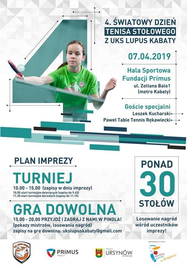 Plakat turnieju 4. ŚWIATOWY DZIEŃ TS Z UKS LUPUS KABATY- turniej