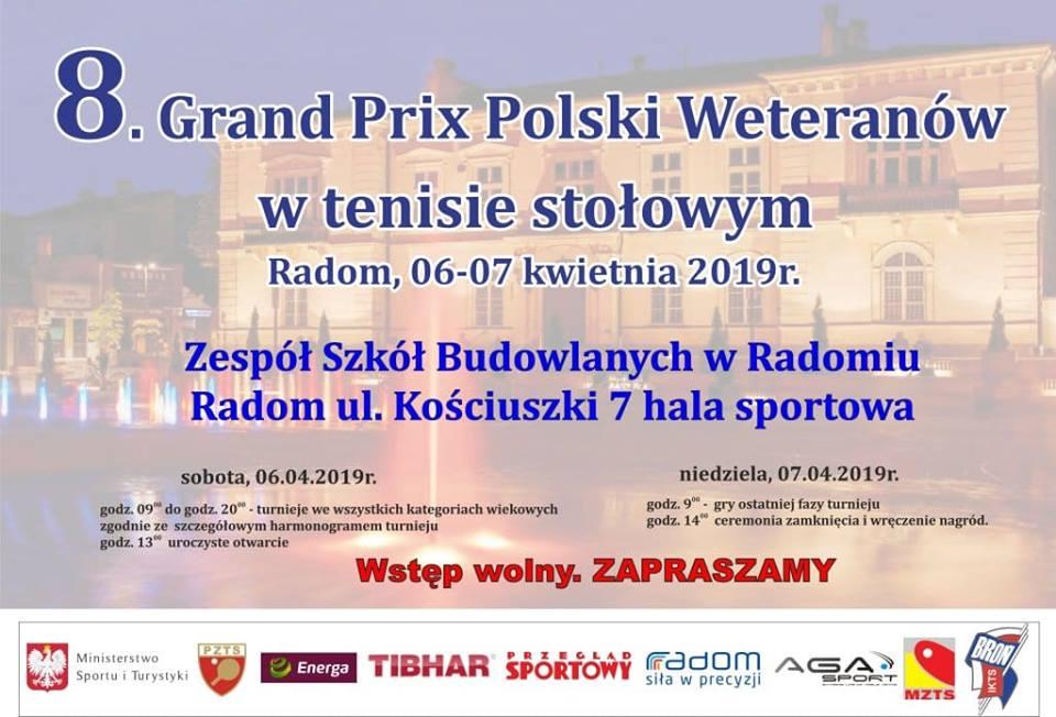 Plakat turnieju 8. GRAND PRIX POLSKI WETERANÓW- Turniej główny- FINAŁY