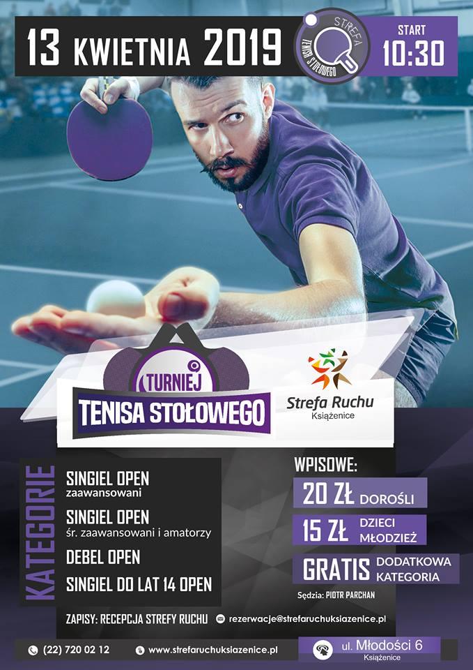 Plakat turnieju Turniej tenisa stołowego w Strefie Ruchu Książenice