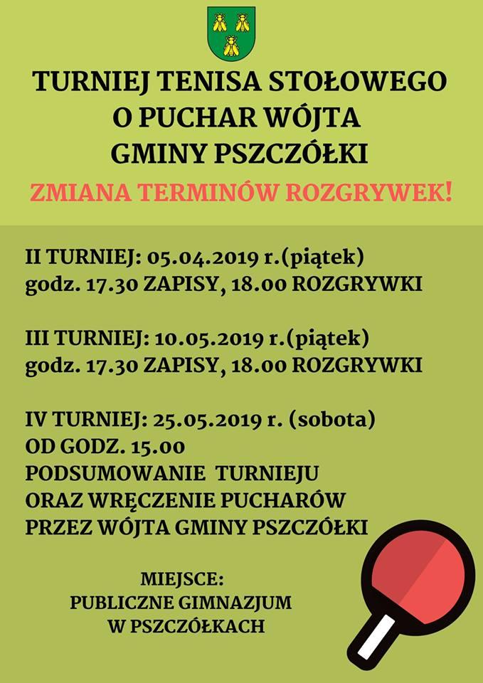 Plakat turnieju Turnieju tenisa stołowego o puchar Wójta Gminy Pszczółki- IV turniej/ Finał