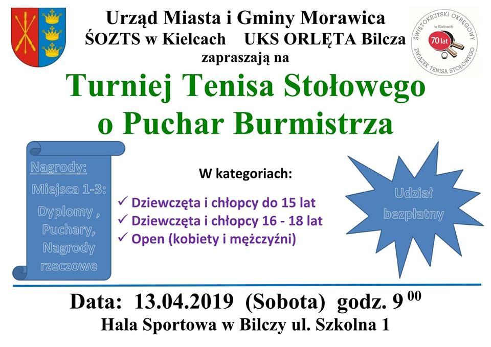 Plakat turnieju TURNIEJ O PUCHAR BURMISTRZA MORAWICY