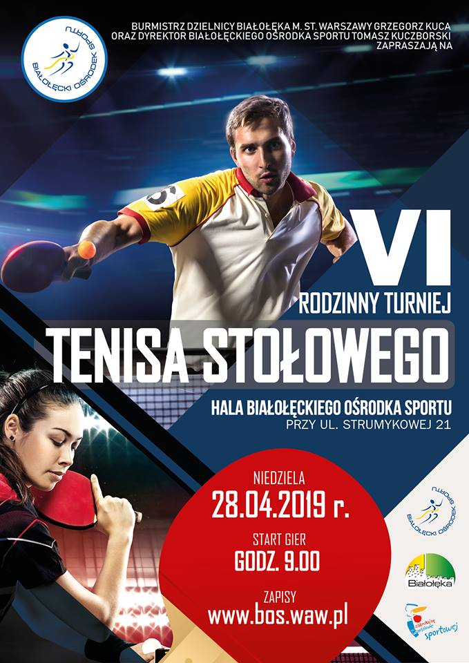 Plakat turnieju VI Rodzinny Turniej Tenisa Stołowego