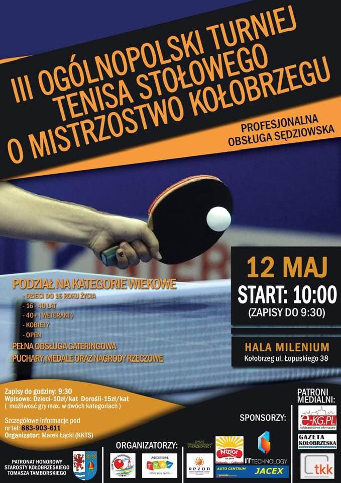 Plakat turnieju III Ogólnopolski Turniej Tenisa Stołowego o Mistrzostwo Kołobrzegu