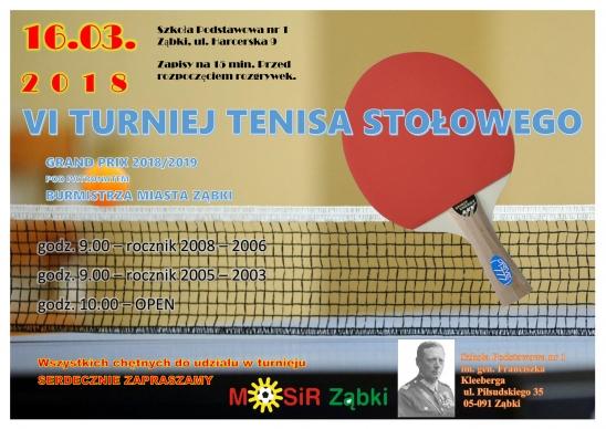 Plakat turnieju Grand Prix 2018/2019 w tenisie stołowym pod patronatem Burmistrza Miasta Ząbki