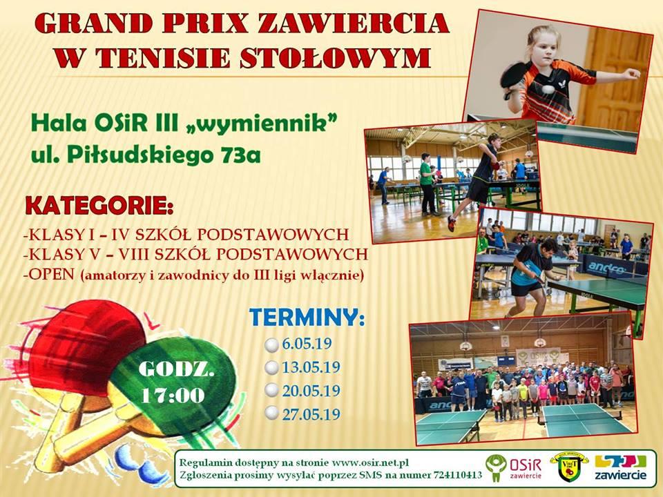 Plakat turnieju Grand Prix Zawiercia w tenisie stołowym 2019- IV turniej