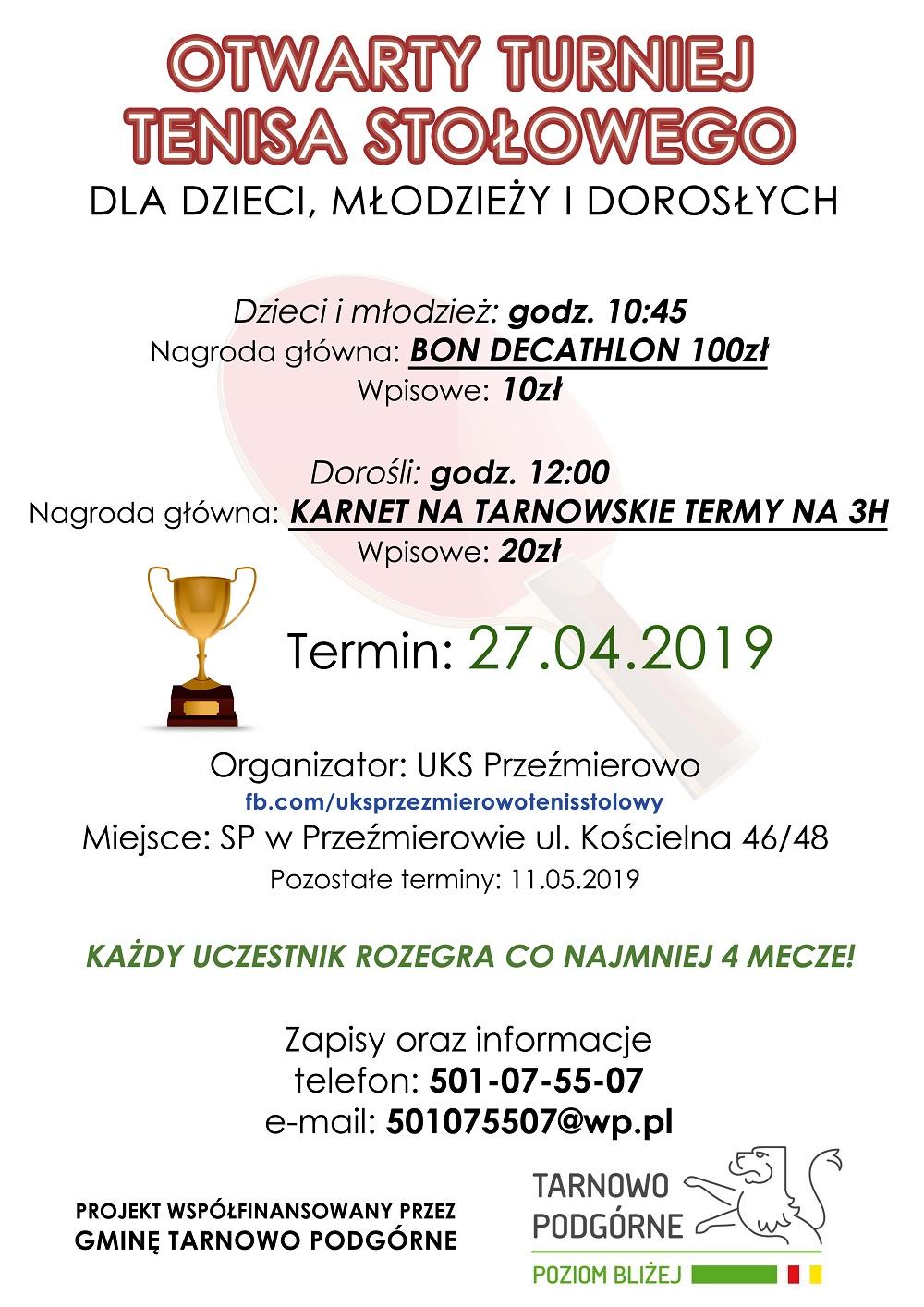 Plakat turnieju Otwarty turniej tenisa stołowego dla dzieci, młodzieży i dorosłych - Przeźmierowo
