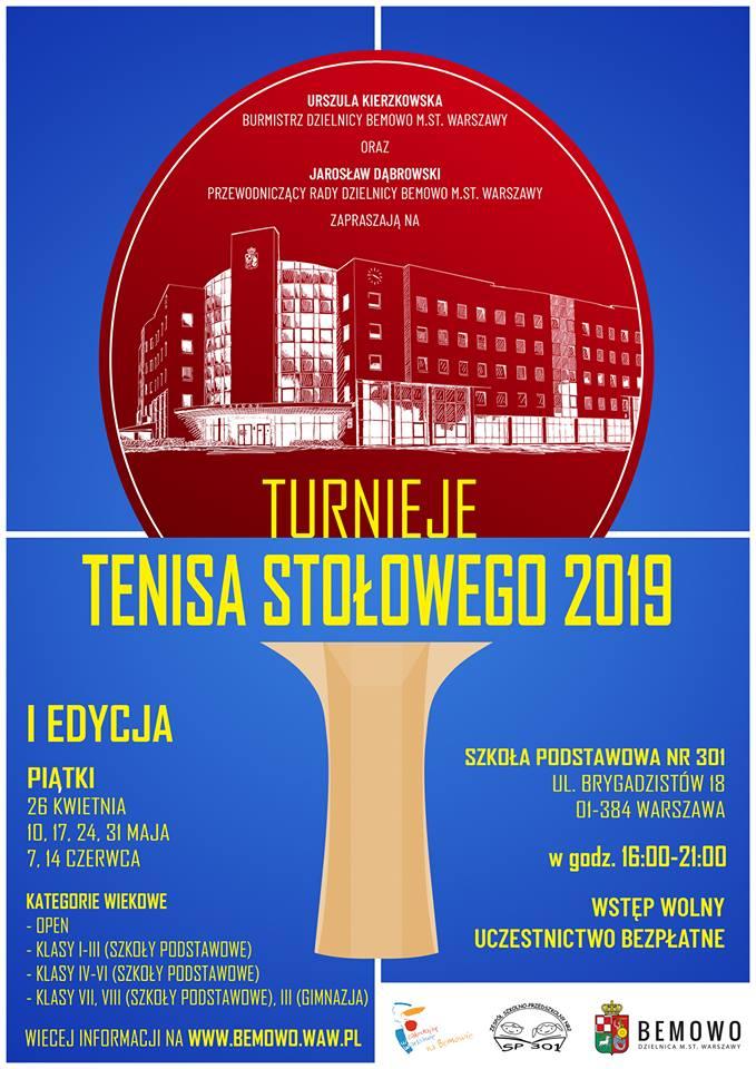 Plakat turnieju Turnieje tenisa stołowego Bemowo - Brygadzistów (10 maj 2019)