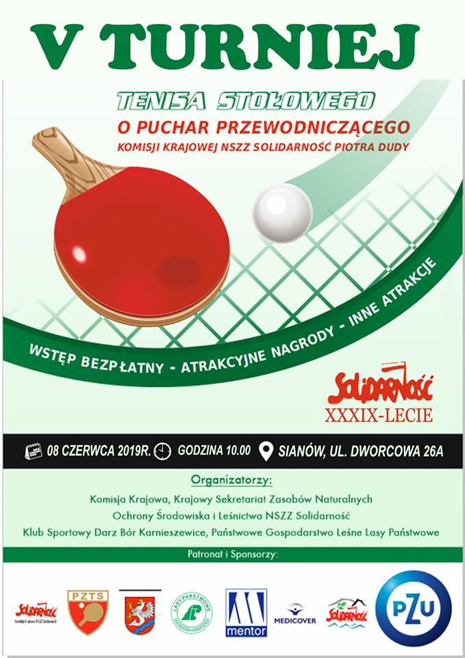 Plakat turnieju V Turniej Tenisa Stołowego o Puchar Przewodniczącego Komisji Krajowej NSZZ Solidarność Piotra Dudy