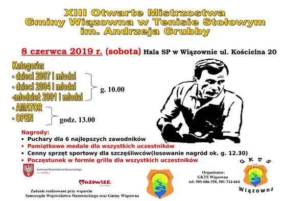 Plakat turnieju XIII Otwarte Mistrzostwa Gminy Wiązowna im. Andrzeja Grubby