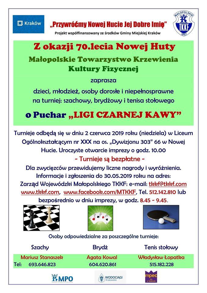 """Plakat turnieju Otwarty Turniej Tenisa Stołowego o Puchar """"Ligi Czarnej Kawy"""" z okazji 70-lecia Nowej Huty"""