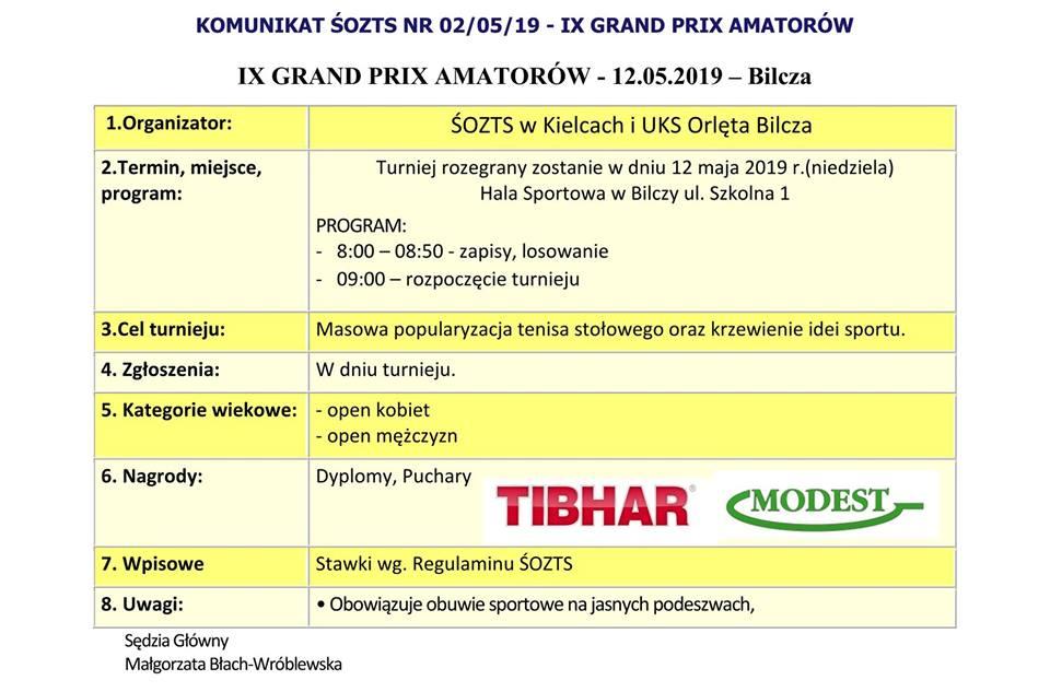 Plakat turnieju IX GP AMATORÓW- Bilcza