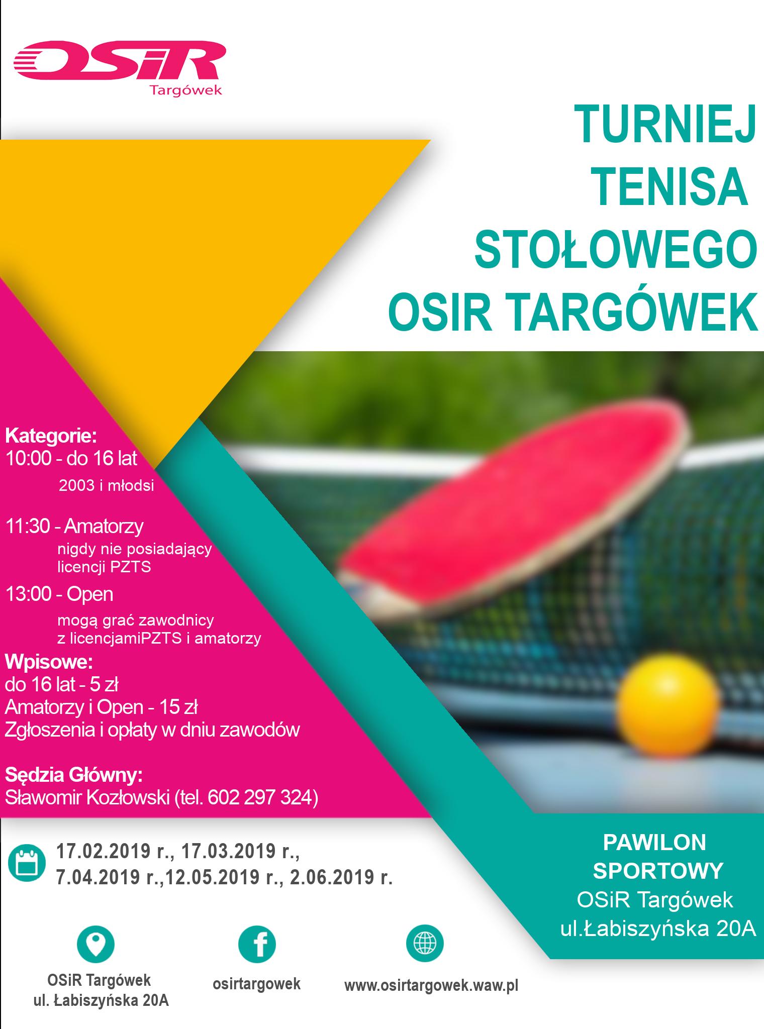 Plakat turnieju Cykl turniejów tenisa stołowego na Łabiszyńskiej - II Turniej