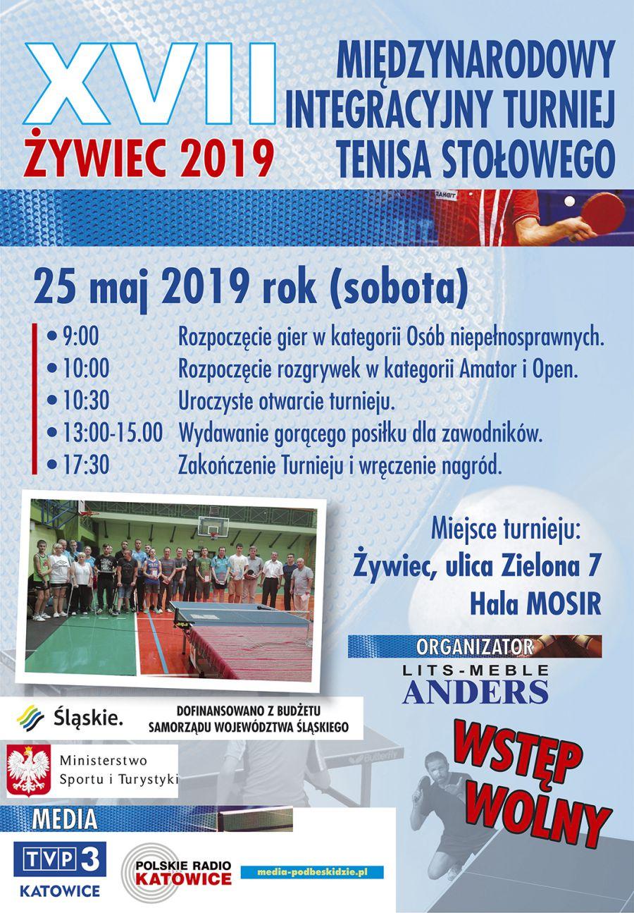 Plakat turnieju XVII Międzynarodowy Integracyjny Turniej Tenisa Stołowego