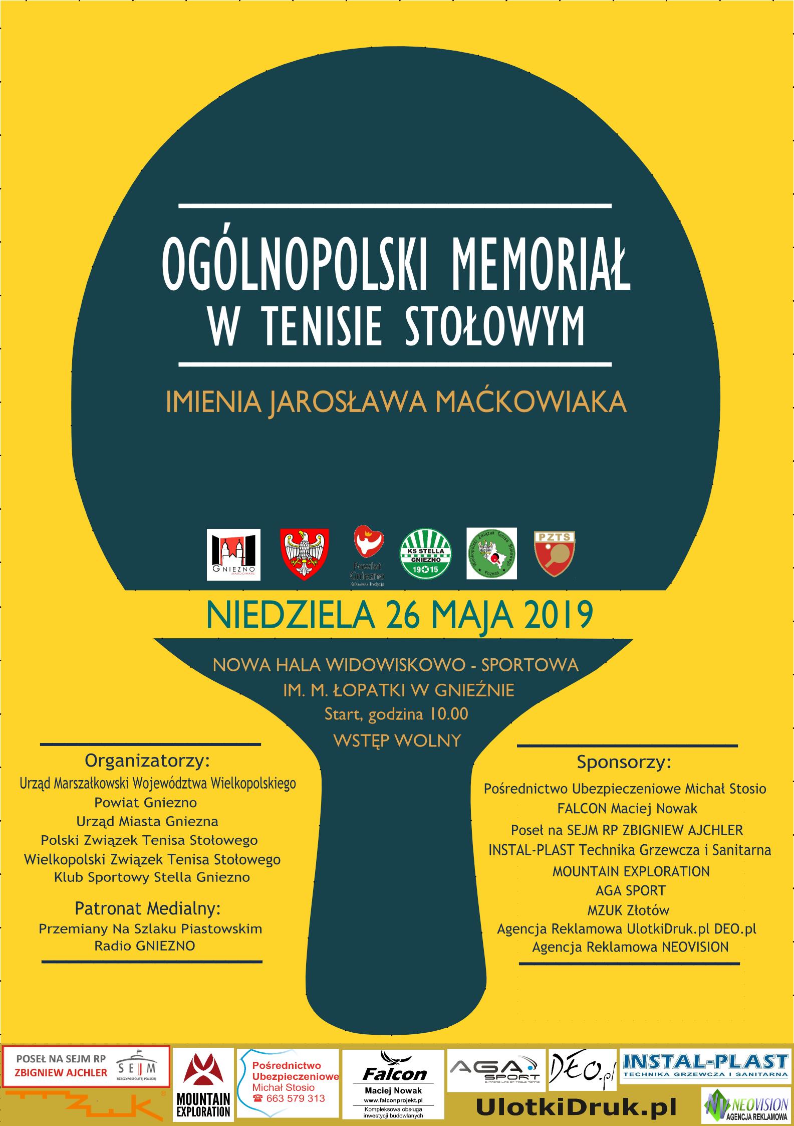 Plakat turnieju VIII OGÓLNOPOLSKI MEMORIAŁ im. JAROSŁAWA MAĆKOWIAKA