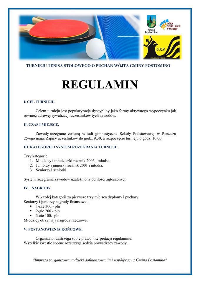 Plakat turnieju  Turniej o Puchar Wójta Gminy Postomino w tenisie stołowym