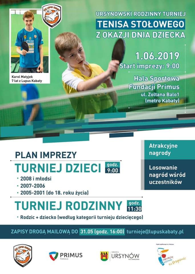 Plakat turnieju Ursynowski Rodzinny Turniej z okazji DNIA DZIECKA