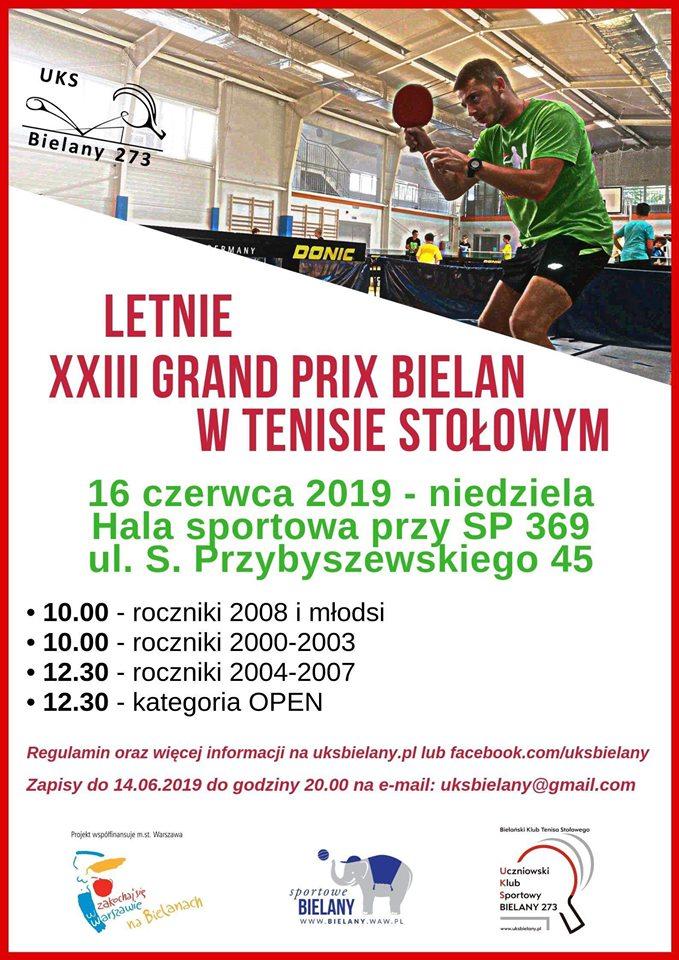 Plakat turnieju Letnie XXIII Grand Prix Bielan w Tenisie Stołowym