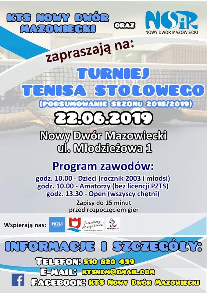 Plakat turnieju Turniej Tenisa Stołowego- Nowy Dwór Mazowiecki (podsumowanie sezonu 2018/2019)