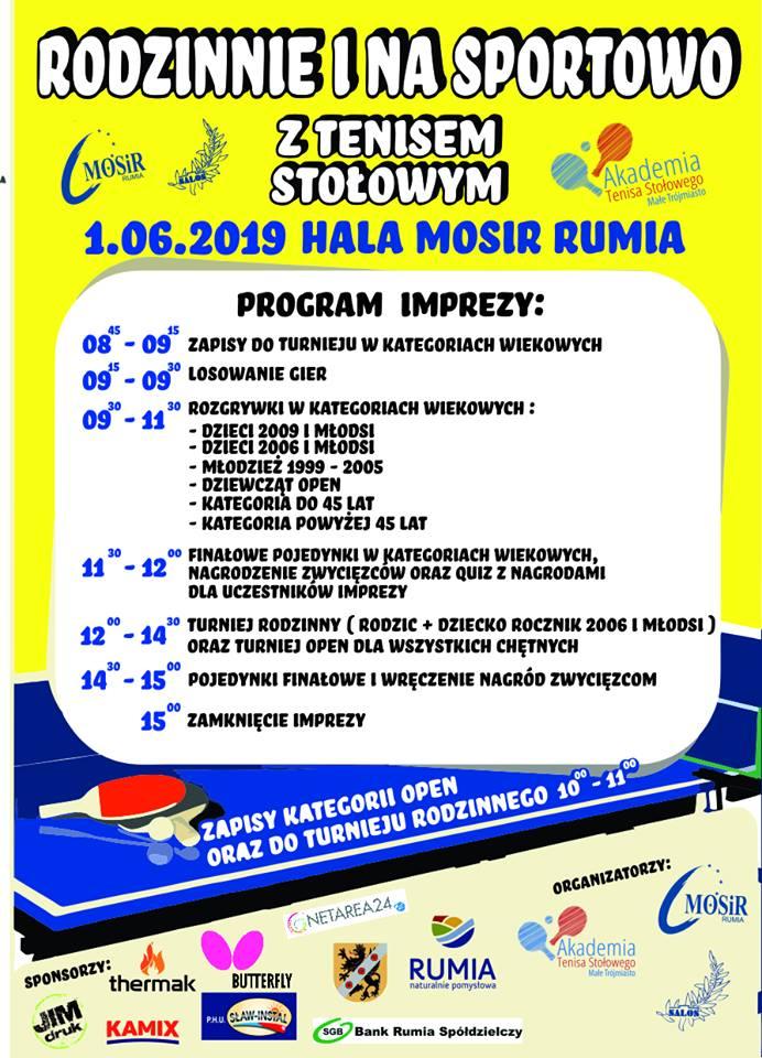 Plakat turnieju Rodzinnie i Na Sportowo- Turniej Tenisa Stołowego w Rumi