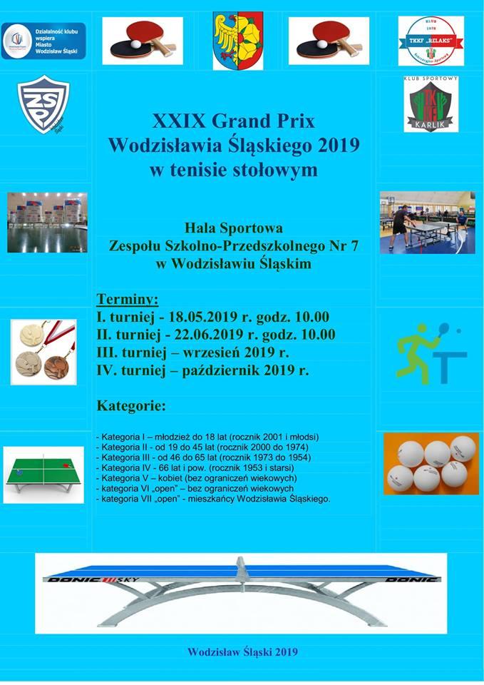 Plakat turnieju XXIX Grand Prix Wodzisławia Śląskiego 2019- I turniej