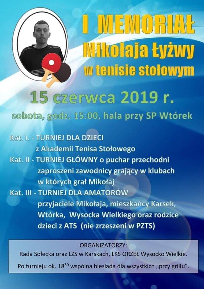 Plakat turnieju I Memoriał Mikołaja Łyżwy w tenisie stołowym