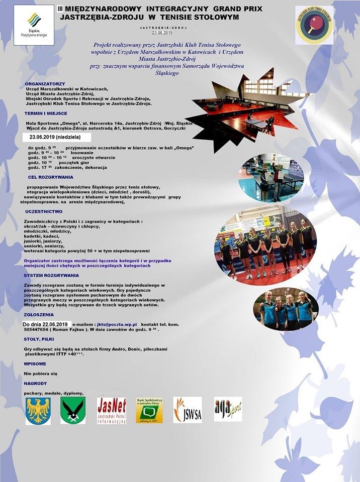 Plakat turnieju  III Międzynarodowe Grand Prix Jastrzębia Zdroju w Tenisie Stołowym