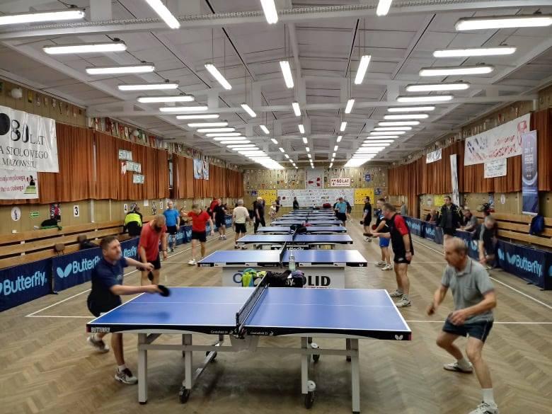 Plakat turnieju 1 Letni Grand Prix K.S. Spójnia Warszawa w tenisie stołowym 2019