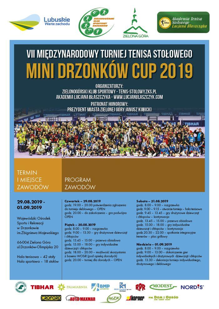 Plakat turnieju  MINI DRZONKÓW CUP 2019 W TENISIE STOŁOWYM