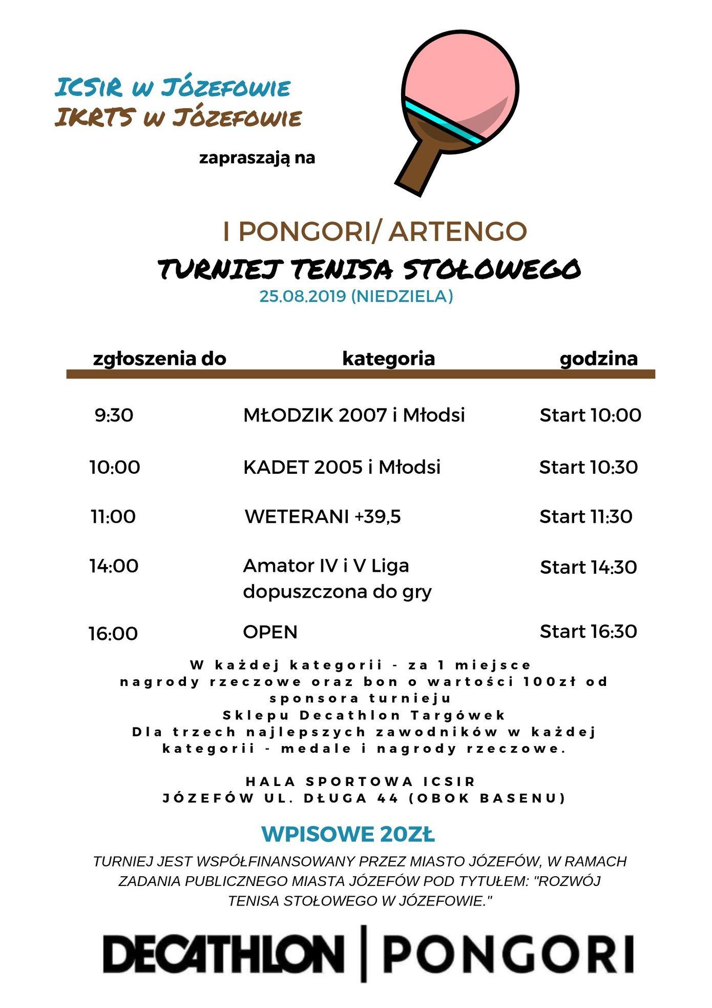 Plakat turnieju I PONGORI / ARTENGO Turniej Tenisa Stołowego