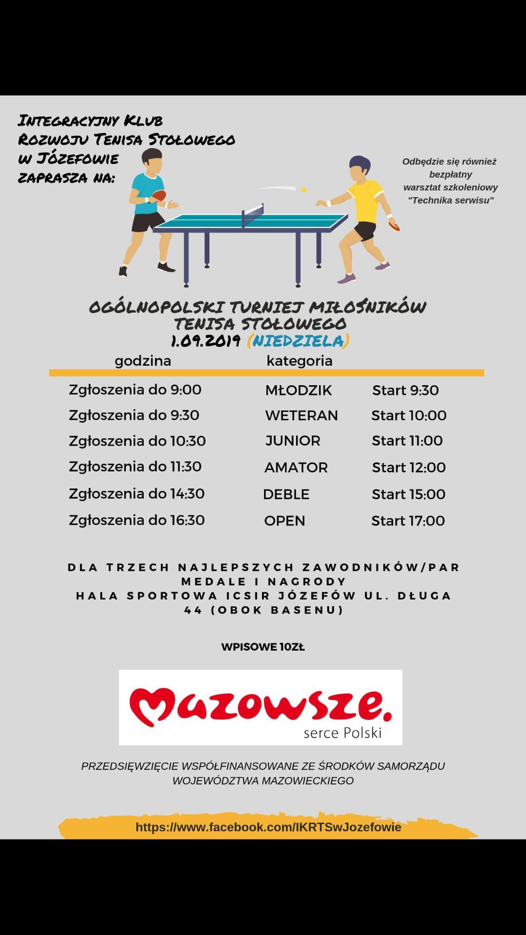 Plakat turnieju OGÓLNOPOLSKI TURNIEJ MIŁOŚNIKÓW TENISA STOŁOWEGO