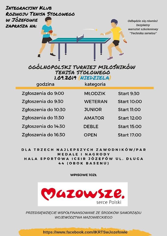 Plakat turnieju OGÓLNOPOLSKI TURNIEJ MIŁOŚNIKÓW TENISA STOŁOWEGO- Józefów