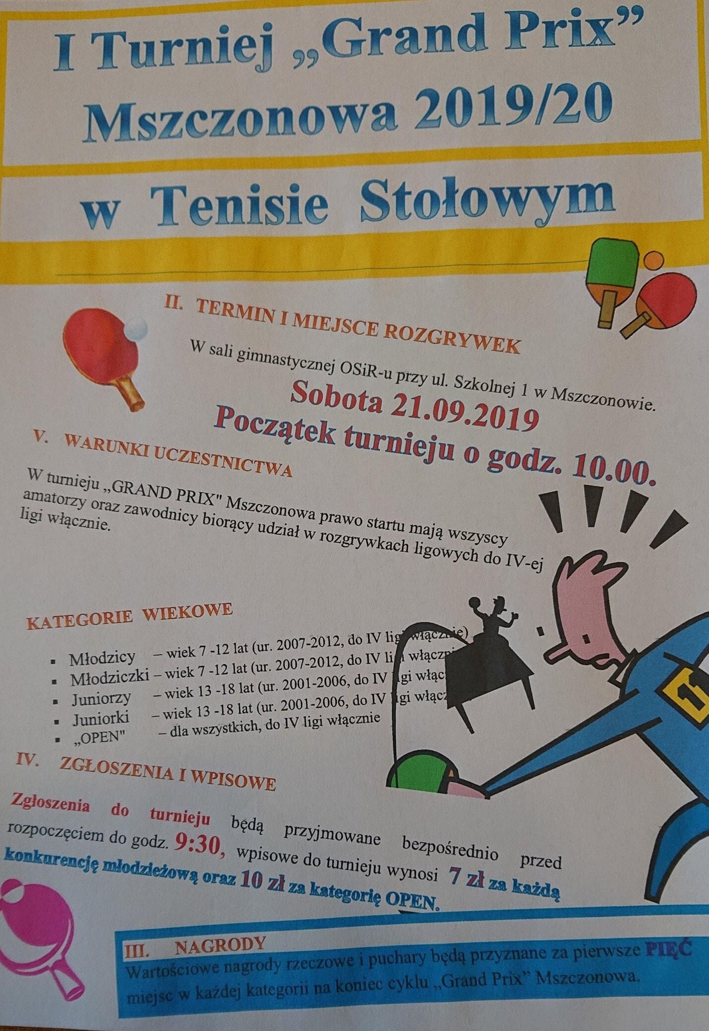 Plakat turnieju I GRAND PRIX Mszczonowa 2019/20