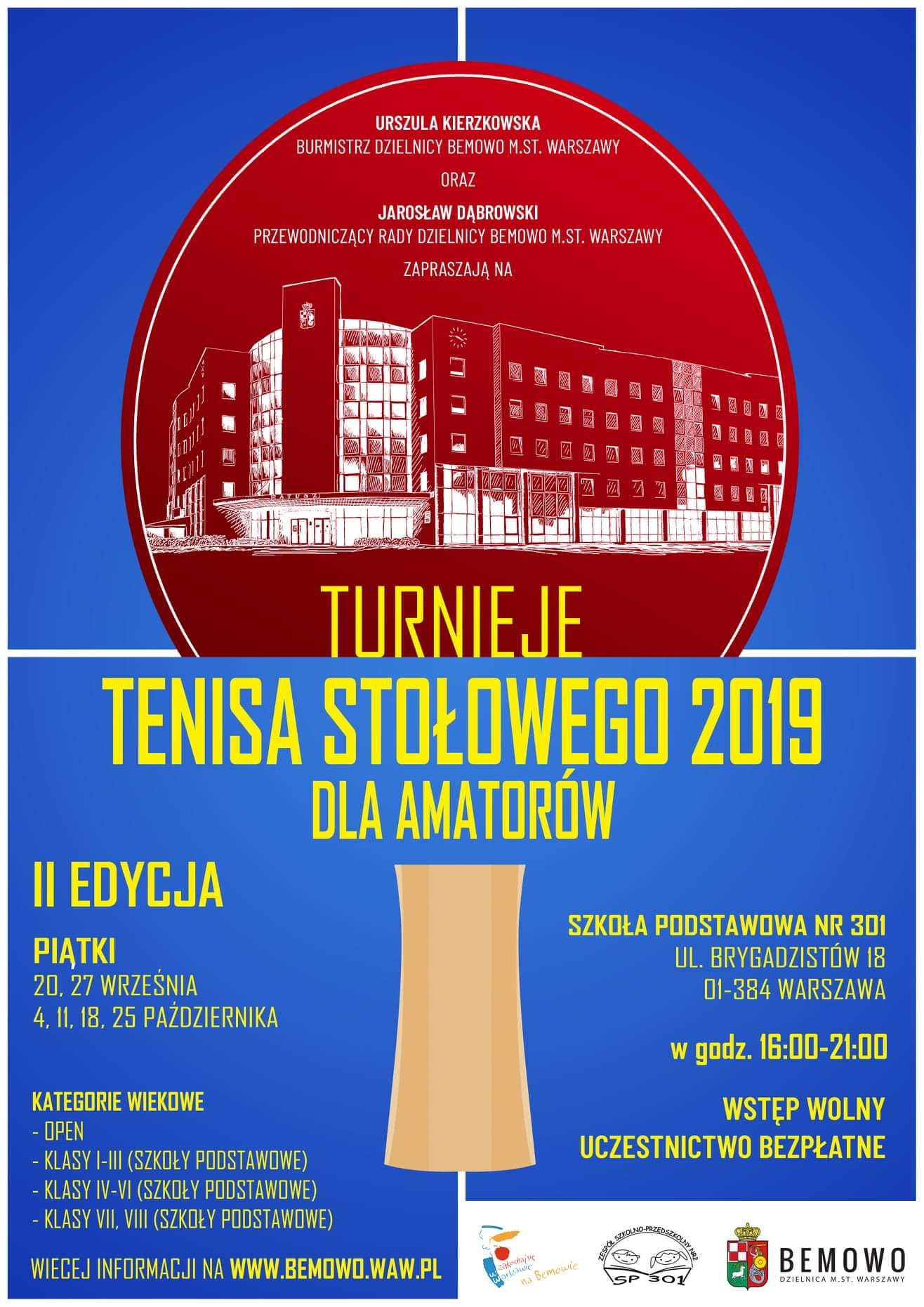 Plakat turnieju Turnieje tenisa stołowego Bemowo - Brygadzistów (18 października 2019) - II EDYCJA