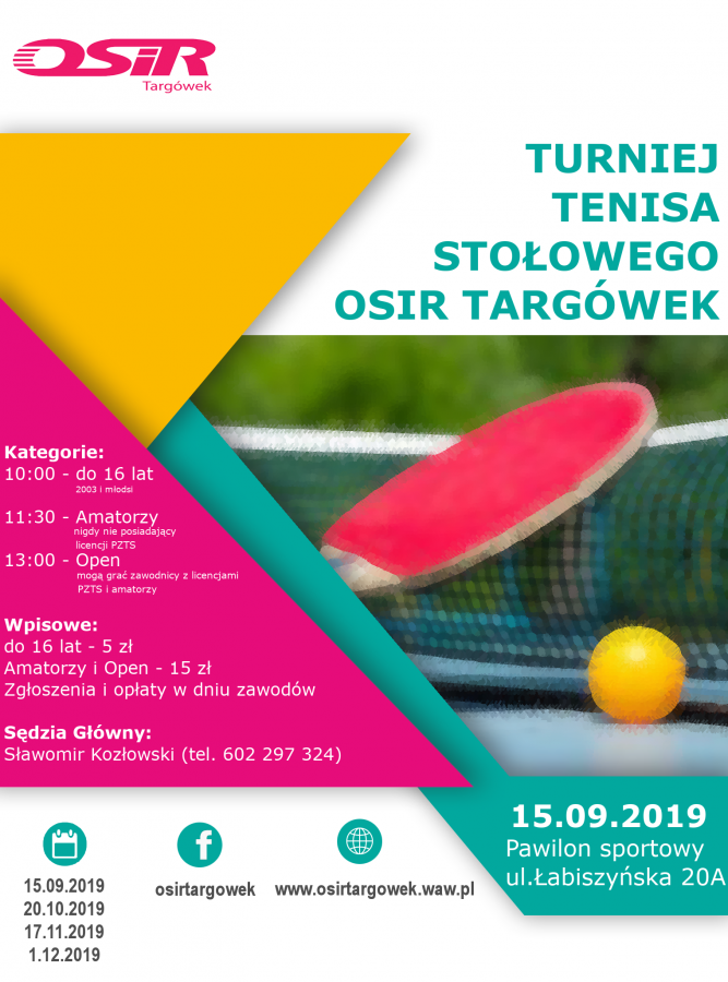 Plakat turnieju Cykl turniejów tenisa stołowego Targówek , ul Łabiszyńska