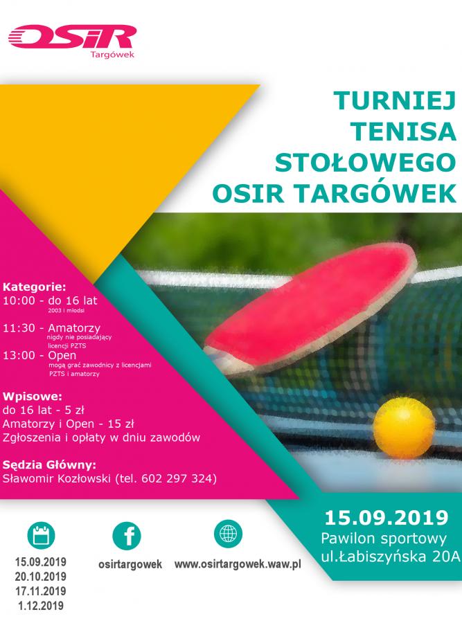 Plakat turnieju Cykl turniejów tenisa stołowego Targówek , ul Łabiszyńska - IX Termin