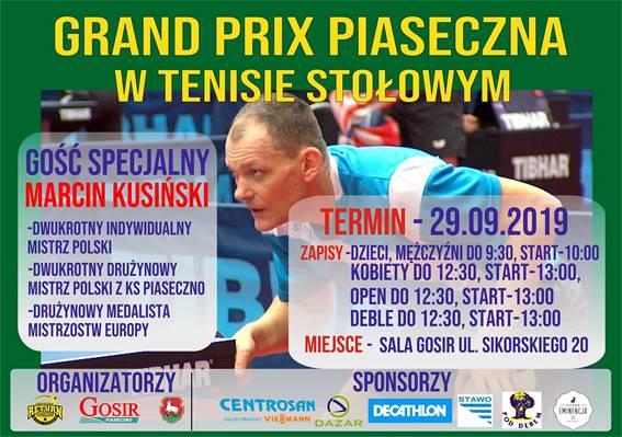 Plakat turnieju Grand Prix Piaseczna w tenisie stołowym 2019