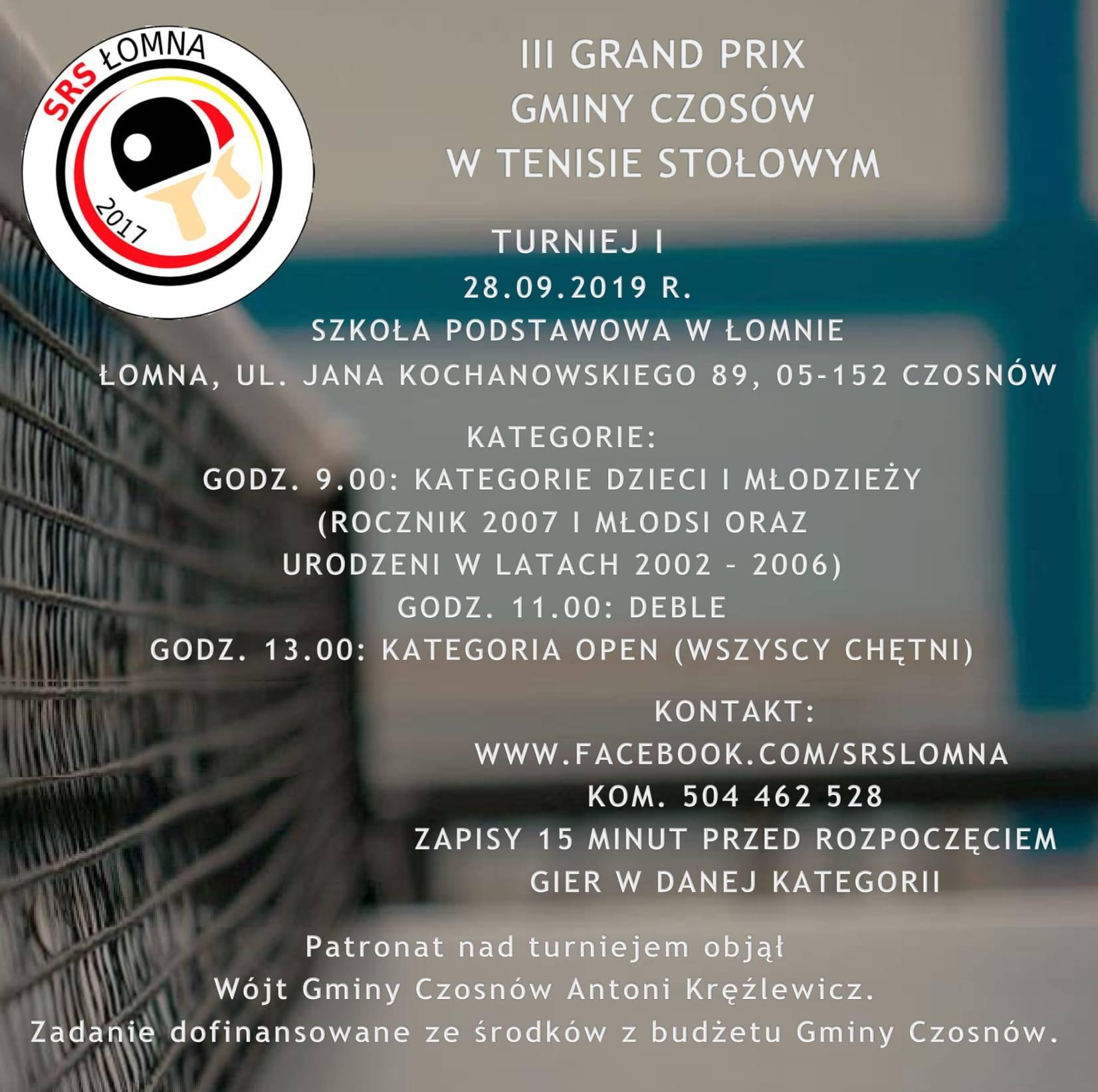 Plakat turnieju III Grand Prix Gminy Czosnów w Tenisie Stołowym - 1 Turniej