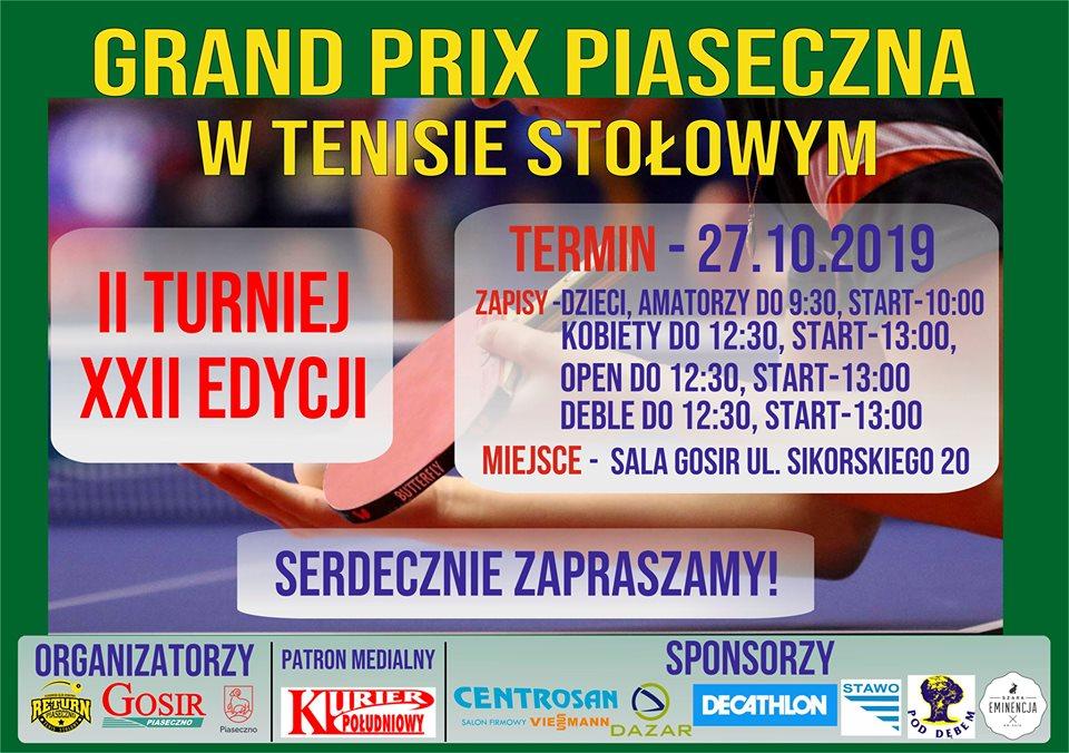 Plakat turnieju Grand Prix Piaseczna w tenisie stołowym 2019 - II Turniej