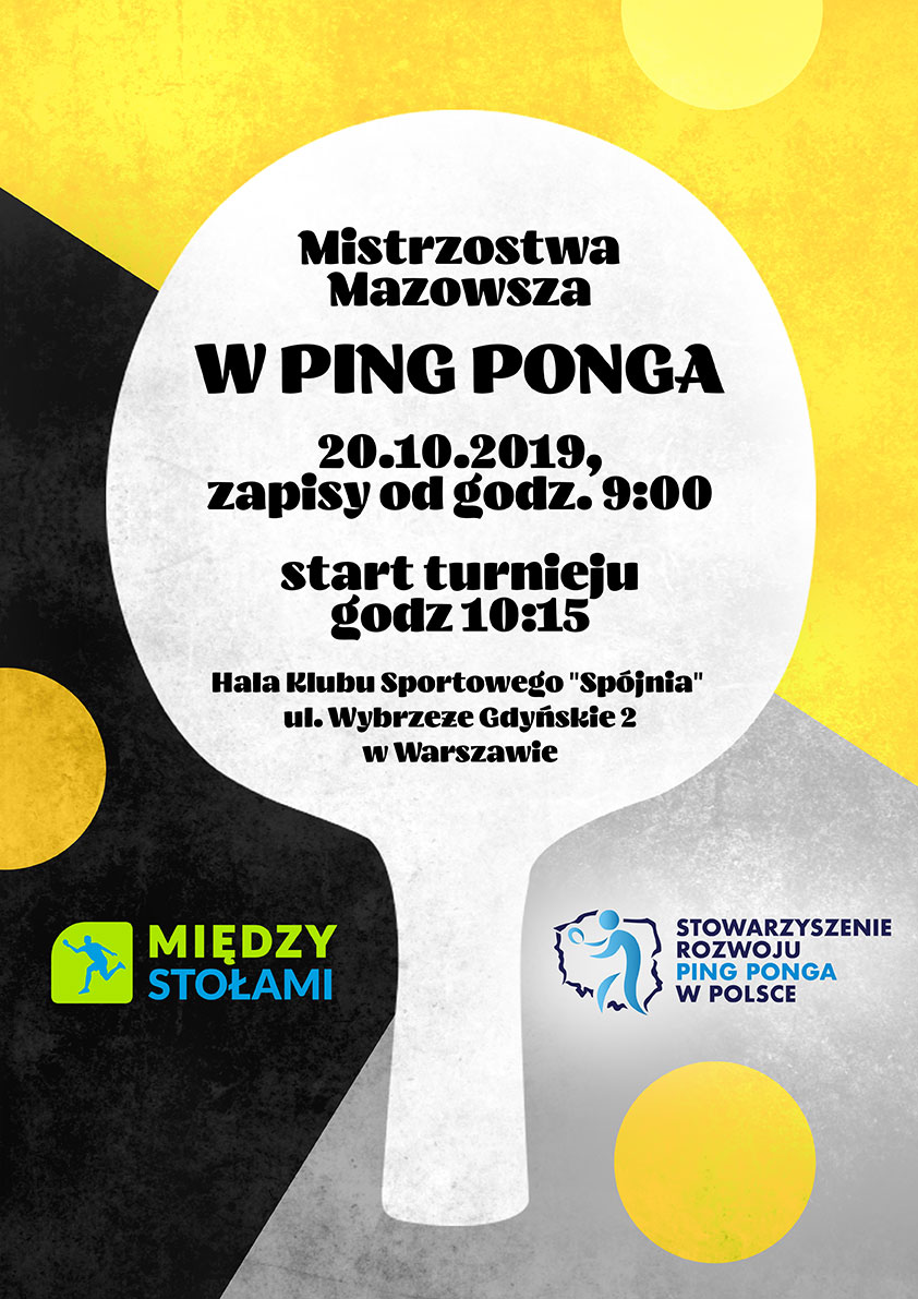 Plakat turnieju Mistrzostwa Mazowsza w ping-ponga