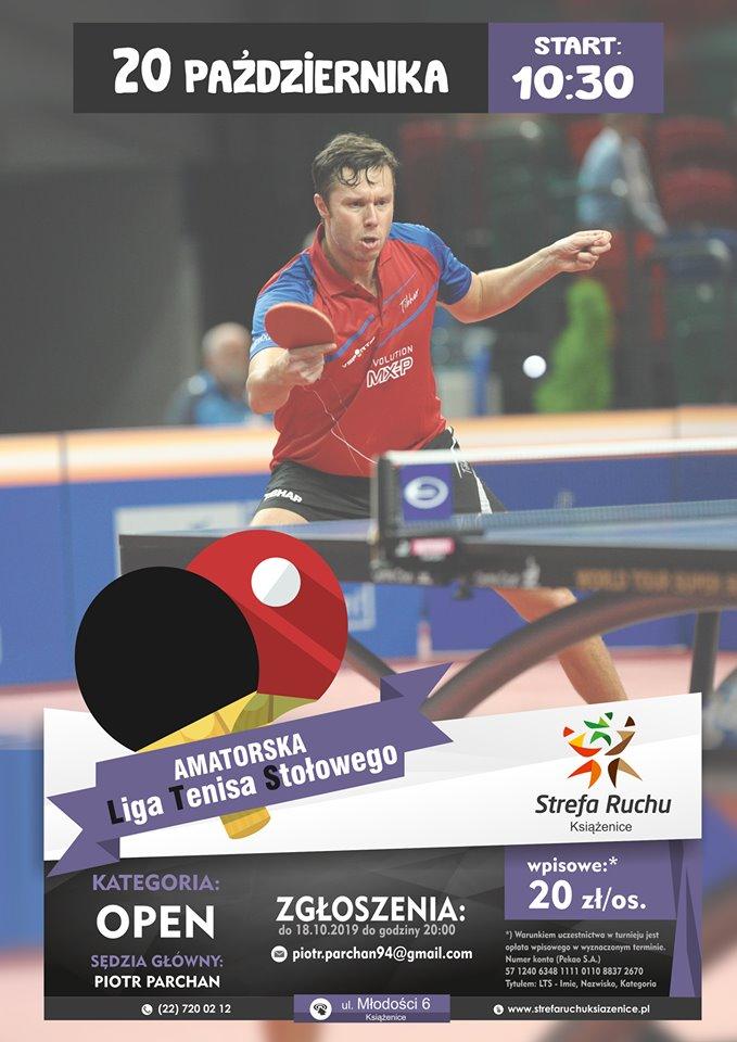 Plakat turnieju LTS - Liga Tenisa Stołowego w Strefie Ruchu Książenice - III Turniej