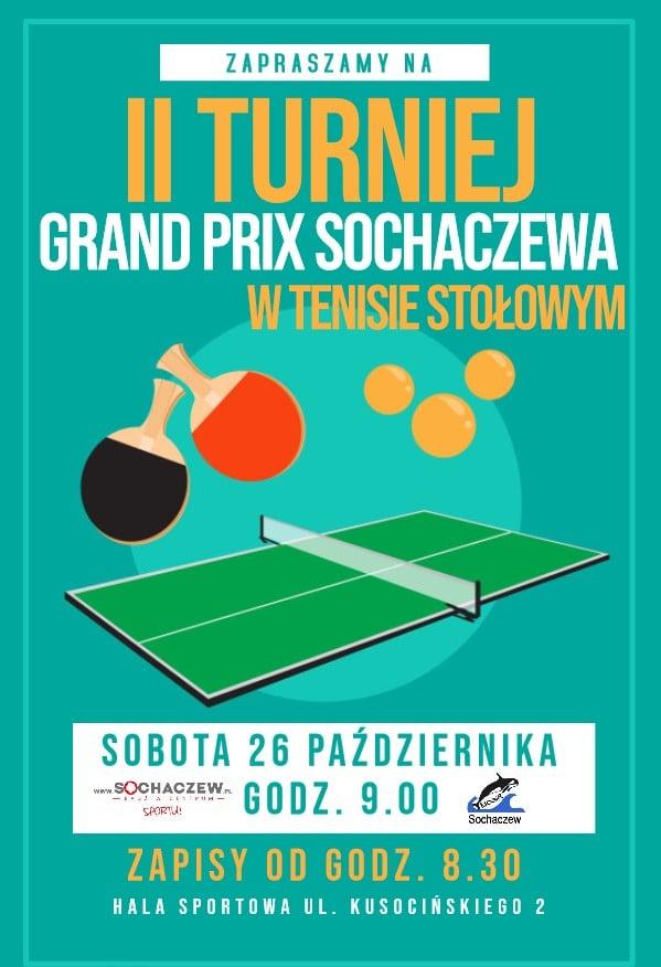 Plakat turnieju II Grand Prix Sochaczewa w Tenisie Stołowym 2019