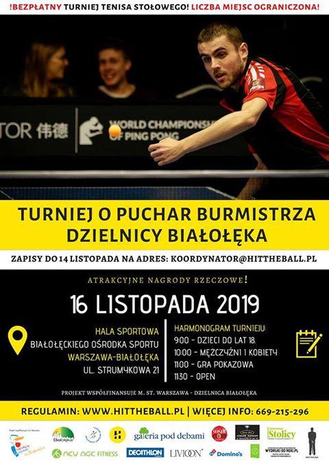 Plakat turnieju Turniej o Puchar Burmistrza Dzielnicy Białołęka