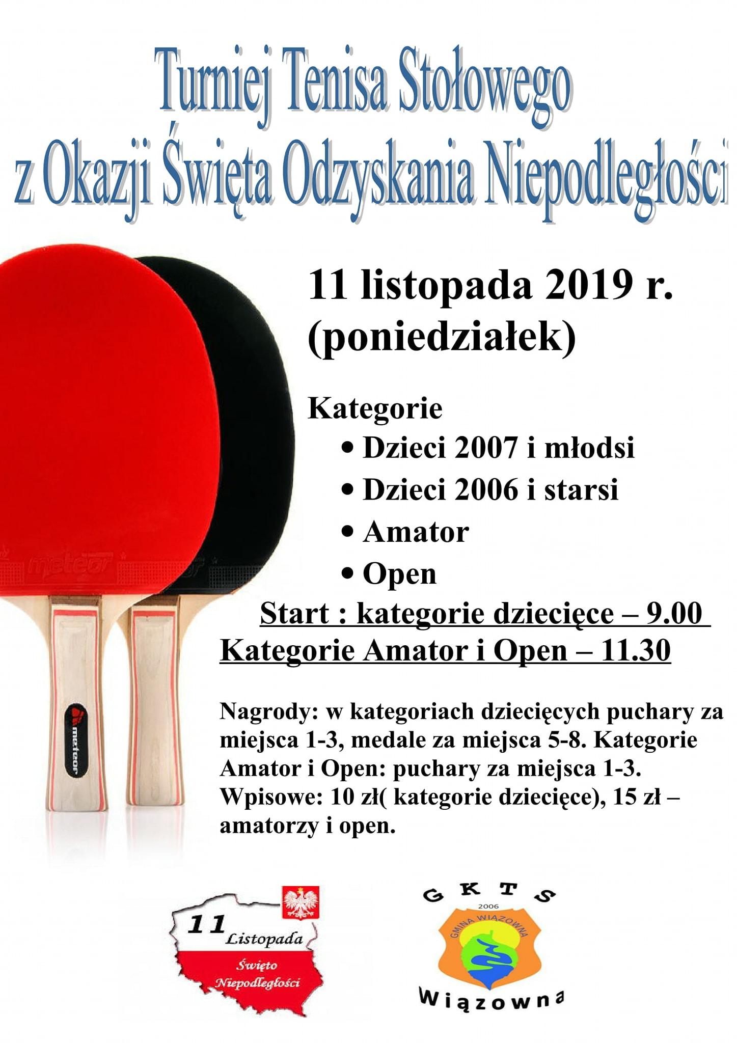 Plakat turnieju Turniej Tenisa Stołowego z Okazji Święta Odzyskania NIepodległości
