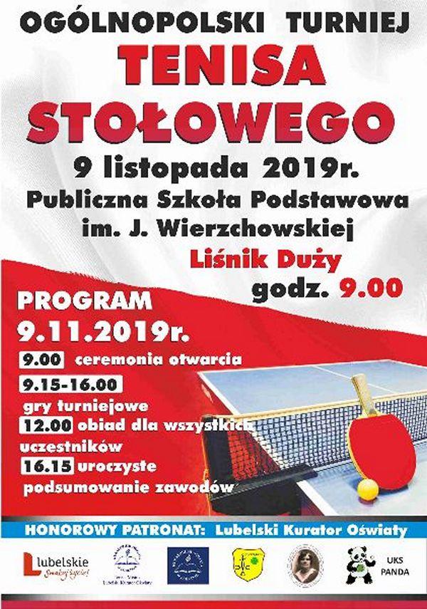 Plakat turnieju Ogólnopolski turniej tenisa stołowego - Liśnik Duży 2019