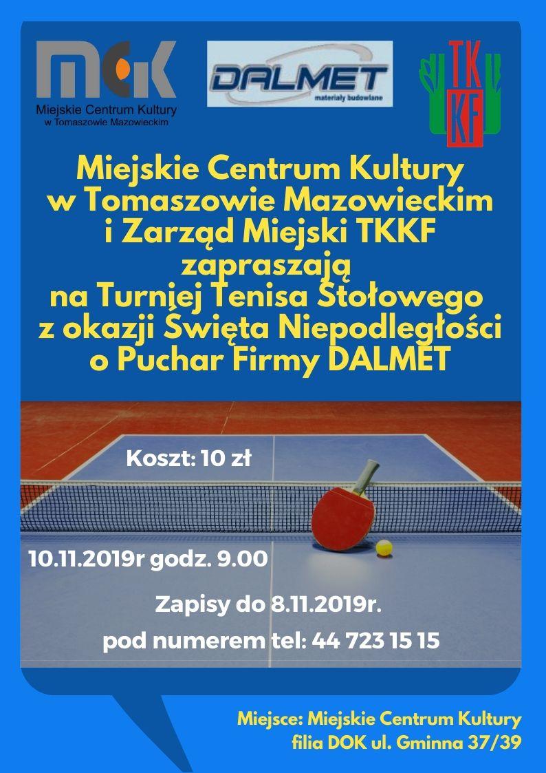 Plakat turnieju Turniej Tenisa Stołowego z okazji Święta Niepodległości o Puchar Firmy DALMET