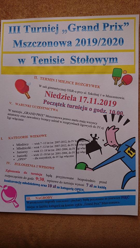 Plakat turnieju III GRAND PRIX Mszczonowa 2019/20
