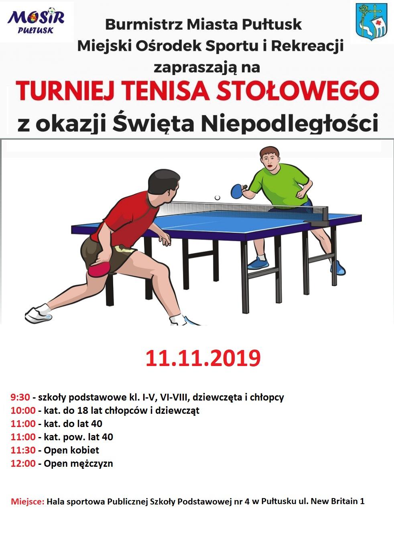 Plakat turnieju Turniej Tenisa Stołowego z okazji Święta Niepodległości w Pułtusku