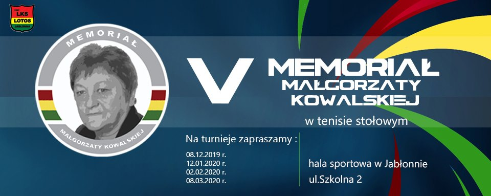 Plakat turnieju V Memoriał Małgorzaty Kowalskiej w tenisie stołowym 2019 - turniej 3 termin