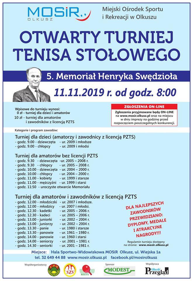 Plakat turnieju Otwarty Turniej Tenisa Stołowego -5. Memoriał Henryka Swędzioła