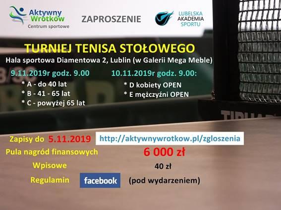 Plakat turnieju Turniej tenisa stołowego w Lublinie
